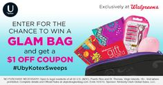 Win a Glam Bag from U By Kotex and Walgreens. Hurry ends 10/3 #UbyKotexSweeps #ad