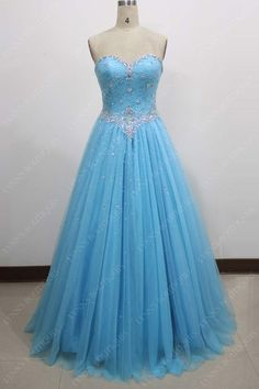 Blue Ball Gown Sweetheart Lace Bodice Prom Dress