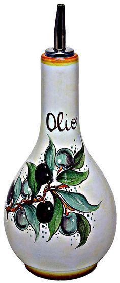 Ceramic Olive Oil Dispenser - Olivo style - 20cm high x 10cm diameter (8 in high x 4 in diameter)