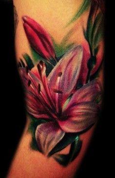 lily flower watercolor tattoo on side of knee - flower bud ink art-t95154.jpg (236×364)