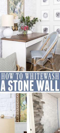 How to Whitewash a Stone Wall | The Creek Line House Diy Projects To Try, Home Projects, Decorating Your Home, Diy Home Decor, Decorating Ideas, Faux Stone Walls, Desk Nook, Chalky Finish Paint, Home Hacks