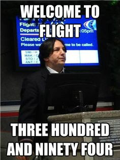 who knew Severus Snape doubled as an American Airlines boarding agent?