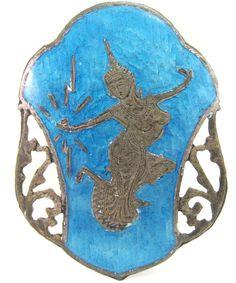 Vintage Siam Niello Brooch 925 Sterling Silver Blue Enamel Dancer 6 Grams Estate Jewelry