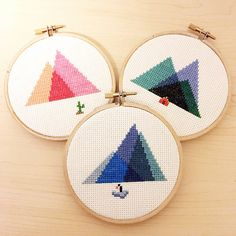 This listing is for a Cross Stitch PDF Pattern of a geometric, minimal interpretation of the Painted Desert (Pattern #001) on 14-count Aida