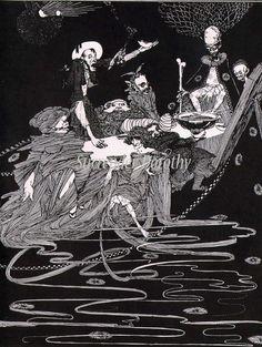 zeichnungen KIng Pest Harry Clarke Edgar Allan Poe Original 1933 Vintage Horror Illustration To Frame Harry Clarke, Edgar Allan Poe, H.p. Lovecraft, Art Nouveau, Mystery, Aubrey Beardsley, Allen Poe, Irish Art, Vintage Horror