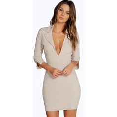 Boohoo Isabel Collar Detail Bodycon Dress (1,045 INR) ❤ liked on Polyvore featuring dresses, pink dress, collar dress, pink body con dress, body conscious dress and body con dresses