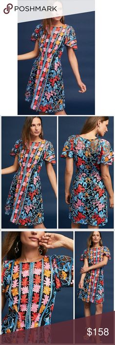 f68ef344f019 Anthropologie Eva Franco Ferrah embroidered dress Anthropologie Ferrah  embroidered dress by Eva Franco Size 2 Cotton, polyester Back zip Fit-and- flare ...