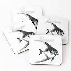 'Adventurer The Fish' Coasters by Beer-Bones Adventurer, Iphone Wallet, Cold Drinks, Coaster Set, Just Go, Bones, Fish, Art Prints, Printed