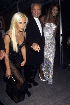 Donatella Versace, Gianni Versace and Naomi Campbell.