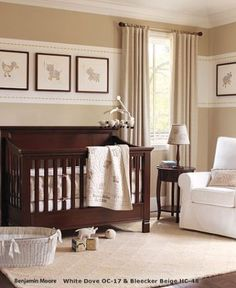 Love the stripe and neutral colors. The paint color is now called Bradstreet Beige by Benjamin Moore.