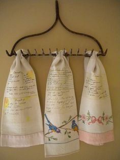 This listing is for ONE tea towel (display rack is NOT included). Create a keepsake that can be passed down for years to come! Have your loved