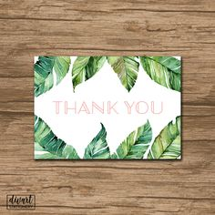 Floral Thank You Card, Baby Shower Thank You Card, Bridal Shower Thank You Card - watercolor greenery tropical banana leaves - Scarlett by DIVart on Etsy