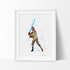 Star Wars Luke Skywalker Watercolor Nursery Art Print Wall Decor. This art illustration is a composition of digital watercolor images and silhouettes in a minimalist style.