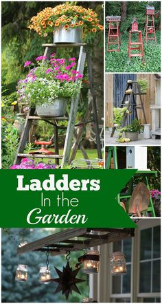 Wooden Ladders As Garden Art Use a wooden ladder as garden art in the flower beds this summer. They add much needed height to the garden and a place to display bird houses and planters. The post Wooden Ladders As Garden Art appeared first on Garden Easy. Garden Ladder, Garden Junk, Garden Yard Ideas, Diy Garden Projects, Wooden Garden, Garden Crafts, Diy Garden Decor, Garden Planters, Garden Art