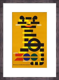 London Underground poster for London Zoo -vintage design - poster design Vintage Design Poster, Poster Retro, Poster S, Vintage Travel Posters, Poster Prints, Art Prints, Tiger Poster, Graphic Posters, Poster Designs