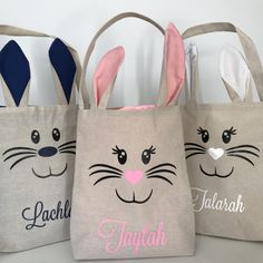 Personalised Easter Bunny Ear Tote Jute Bags - Treat Basket, Easter Fillers - Navy or Pink Easter Gift, Easter Crafts, Easter Ideas, Easter Bunny Ears, Bunnies, Burlap Tote, Bunny Bags, Some Bunny Loves You, Boyfriend Crafts