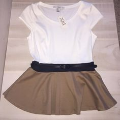 Forever 21 color block peplum top - size M - NWT! Forever 21 cream/black/tan color-blocked shirt sleeve peplum top.  Comes with black detachable belt with side belt loops to stay in place!  Seaming down front for a structured & slim look.  Size Medium. NWT & never worn! Forever 21 Tops Tees - Short Sleeve
