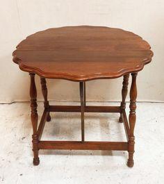 Wonderful Antique Gibbard Drop Leaf Pie Edged Table $265