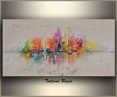 Skyline Abstract painting by Tatjana, Colorful Modern Oil Painting on canvas…