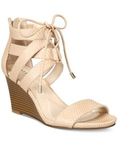 Alfani Women's Karlii Lace-Up Wedge Sandals, Only at Macy's - Tan/Beige 5.5M