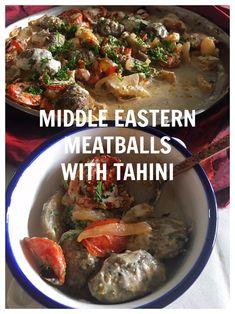 Kefta Bi Tahini- The Swedish Meatballs of the Mid East! East Meals, Middle East Food, Leafy Salad, Vegetable Casserole, Ground Lamb, Tahini Sauce, Roasted Tomatoes, Onions, Family Meals