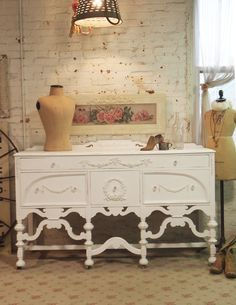 ❥ Painted Cottage Chic Shabby White Romantic Server / Buffet