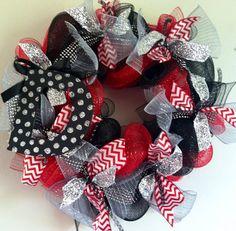Polkadot Initial Decomesh Wreath by BigMommasDoor on Etsy, $79.00