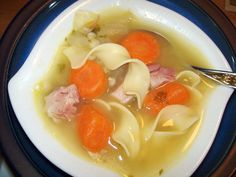My DH does the cleaning of the ham, and always leaves some nice meat pieces on the bone so I can make this super easy, tasty soup! Enjoy!
