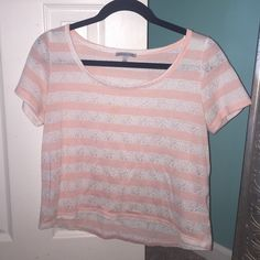 striped Charlotte Russe top peach and white lace striped shirt Charlotte Russe Tops Blouses
