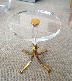1stdibs.com | Pair Of Regency Style Lucite & Brass Side Tables by Charles Hollis Jones