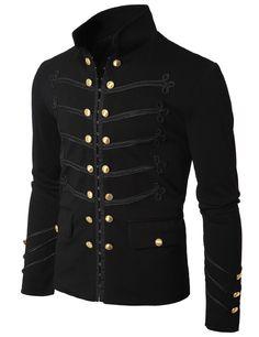 Doublju US Mens Antique Short Jacket Blazer Black (radioactive soldier uniform)