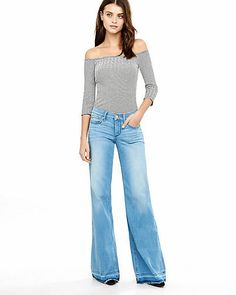 Mid Rise Released Hem Wide Leg Flare Jean from EXPRESS