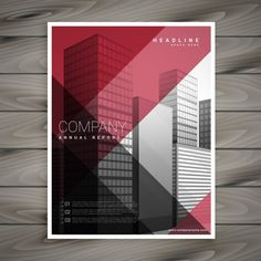 Modern red flyer with geometric shapes Free Vector Flyer Design, Design Corporativo, Design Brochure, Graph Design, Brochure Design Inspiration, Corporate Design, Banner Design, Business Card Design, Business Cards