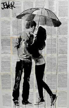 "Saatchi Online Artist Loui Jover; Drawing, ""under the umbrella"" #art"