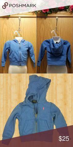 Blue Ralph Lauren Toddler Hoody Size: 2T (Toddler) Brand: Ralph Lauren Condition: Used- Like New Flaws: None  Blue zip up hoodie w/ pink horse Ralph Lauren Shirts & Tops Sweatshirts & Hoodies