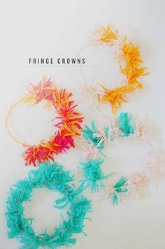 fringe crepe paper crowns