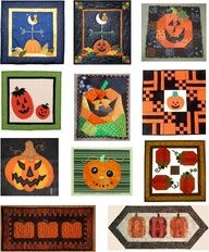 Free Patterns for pumpkins and jack-o-lanterns: wall quilts and table runners
