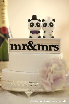 Panda Wedding Cake Topper by kikuike on Etsy