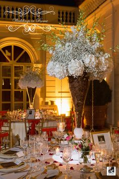 These center piece flowers are gorgeous...Christine and Jonathon wedding in Rome. www.weddingsinrome.com