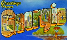 "Greetings from Georgia vintage postcard. A vintage ""Big Letter"" Georgia Post Card, a retro style from the fifties. Photo Postcards, Vintage Postcards, Big Letters, U.s. States, United States, Vintage Artwork, Retro Art, Postcard Size, Postcard Art"
