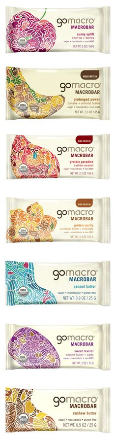Completed redesign of the GoMacro brand including the brand identity and packaging - by Pearlfisher