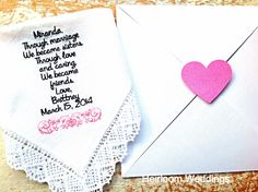 A personal favorite from my Etsy shop https://www.etsy.com/listing/181438735/embroidered-wedding-handkerchief