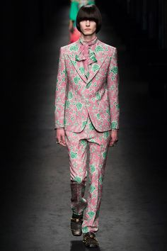 Gucci's Alessandro Michele showed five menswear looks during his Fall/Winter 2016 womenswear show in Milan.
