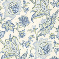 """T3310   Pattern JACOBEAN TRAIL   Wallpaper  Collection Fairfax  Colorway Blue on Green      Construction Wallpaper  Width 27.00""""(68.58 cm)  Repeat V 36.00""""(91.44 cm)  Match  Half Drop  Strippable  Washable  Unpasted  Pretrimmed"""