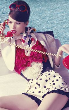 red phone,red glasses red lips.....and the lingerie