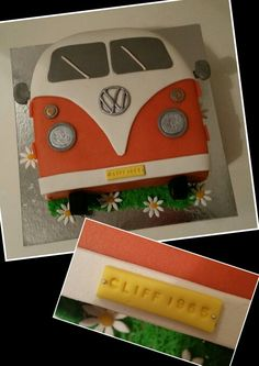 Volkswagen camper cake / Volkswagen bus cake Best Picture For Cake Design flowers For Your Taste You are looking for something, and it is going to tell you exactly what you are looking for, and you di Camper Van Cake, Camper Cakes, Vw Camper, Volkswagen Bus, Cake Cookies, Cupcake Cakes, Bus Cake, Bolos Naked Cake, Fruit Cake Design