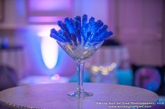 Blue Rock Candy with LED Lights in Martini Glass Centerpiece