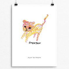 Baby Cheetah 001 Dot Painting Series Wall Print by PearTeaPaperie