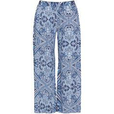 Mat Blue / Cream Plus Size Wide leg floral trousers ($54) ❤ liked on Polyvore featuring pants, blue, plus size, wide-leg trousers, plus size pants, wide leg pants, stretch pants and long pants