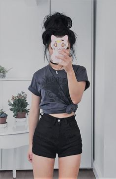 Choker, crystal necklace, grey shirt with black shorts by caminimm Tumblr Outfits, Punk Outfits, Mode Outfits, Grunge Outfits, Grunge Fashion, Short Outfits, Casual Outfits, Fashion Outfits, 90s Fashion